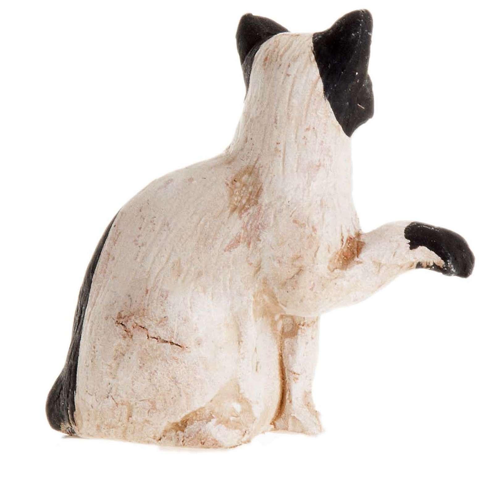 Neapolitan Nativity figurine, Black and white cat 14cm 4