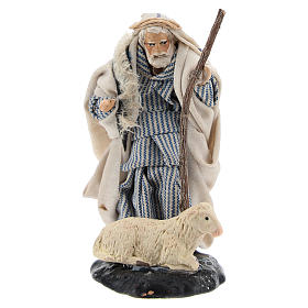 Neapolitan Nativity Scene: Neapolitan Nativity figurine, Old man with sheep 8cm