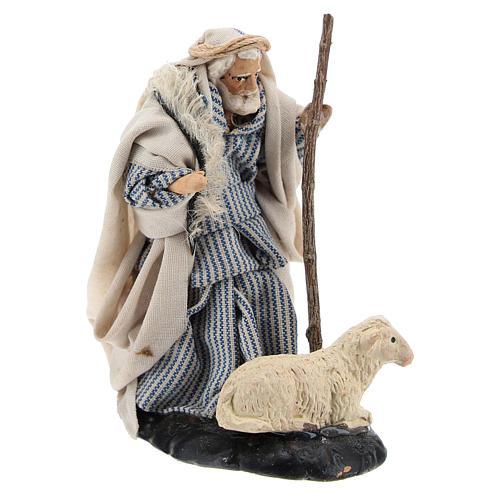 Neapolitan Nativity figurine, Old man with sheep 8cm 3