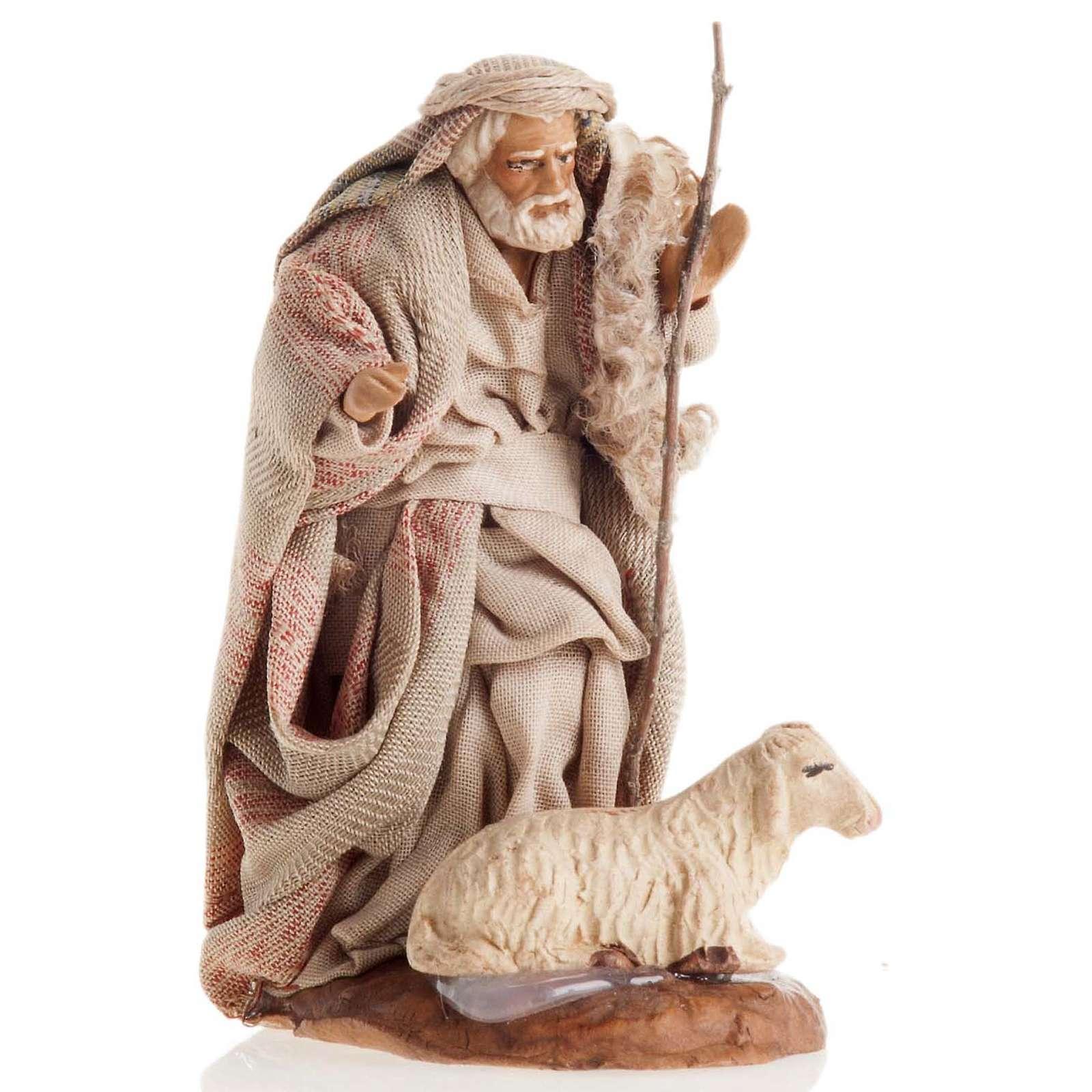 Neapolitan Nativity figurine, Old man with sheep 8cm 4