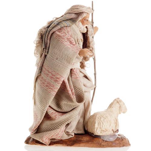 Neapolitan Nativity figurine, Old man with sheep 8cm 2