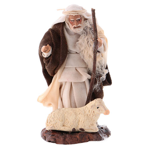 Neapolitan Nativity figurine, Old man with sheep 8cm 1