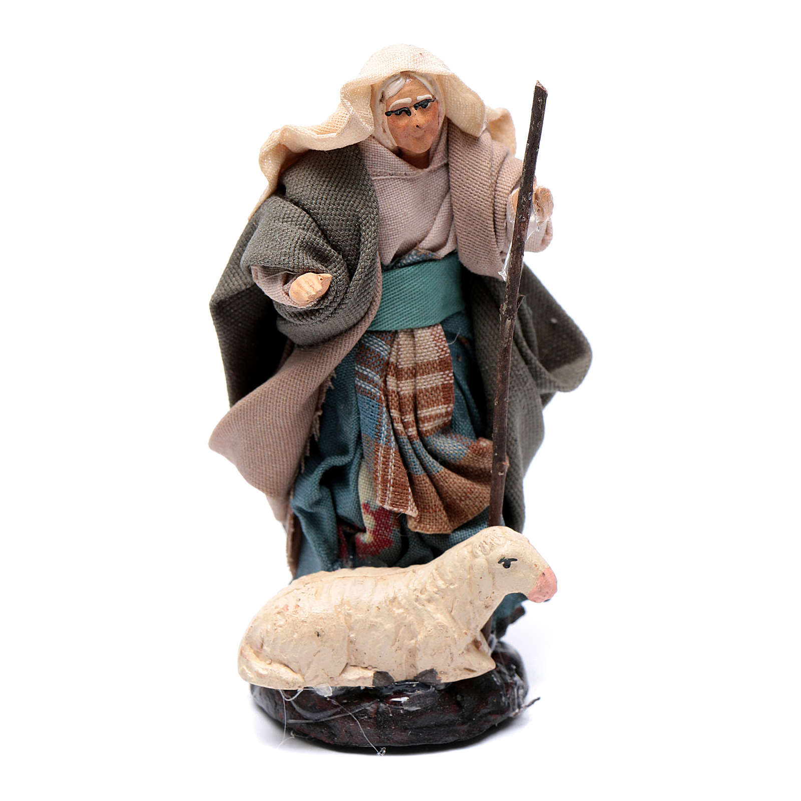Neapolitan Nativity figurine, Old woman with sheep 8cm 4