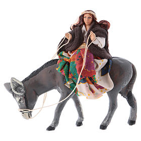 Mujer en burro 8 cm. belén napolitano s1