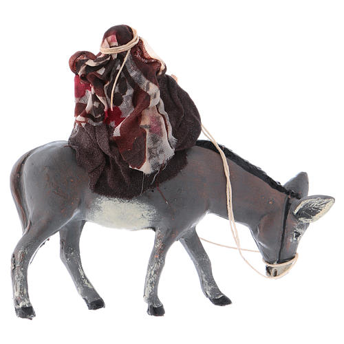 Neapolitan Nativity figurine, Woman on ass 8cm 3