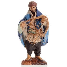 Neapolitan Nativity Scene: Neapolitan Nativity figurine, Fisherman with fish net 8cm