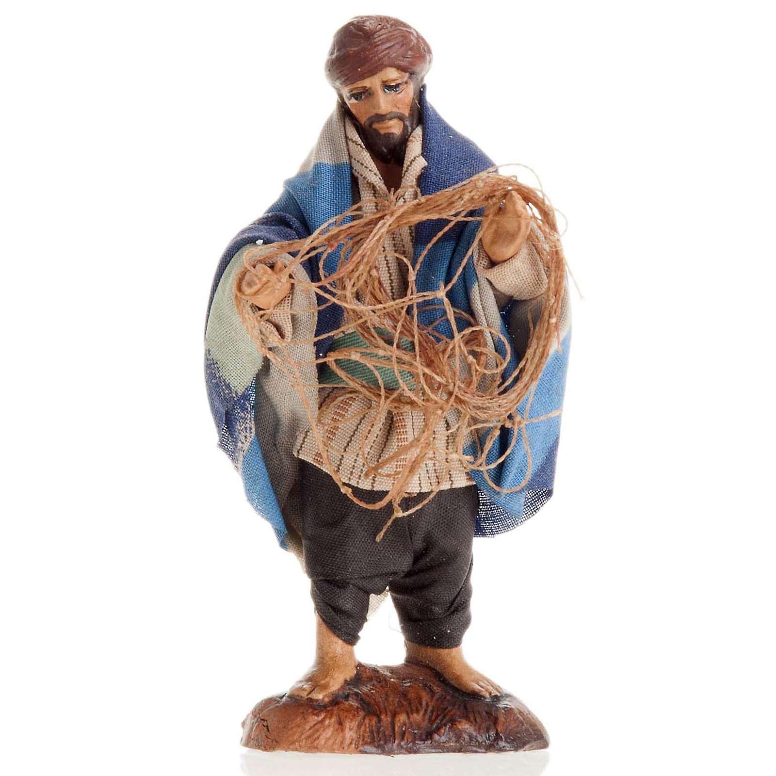 Pescatore con reti 8 cm presepe Napoli 4