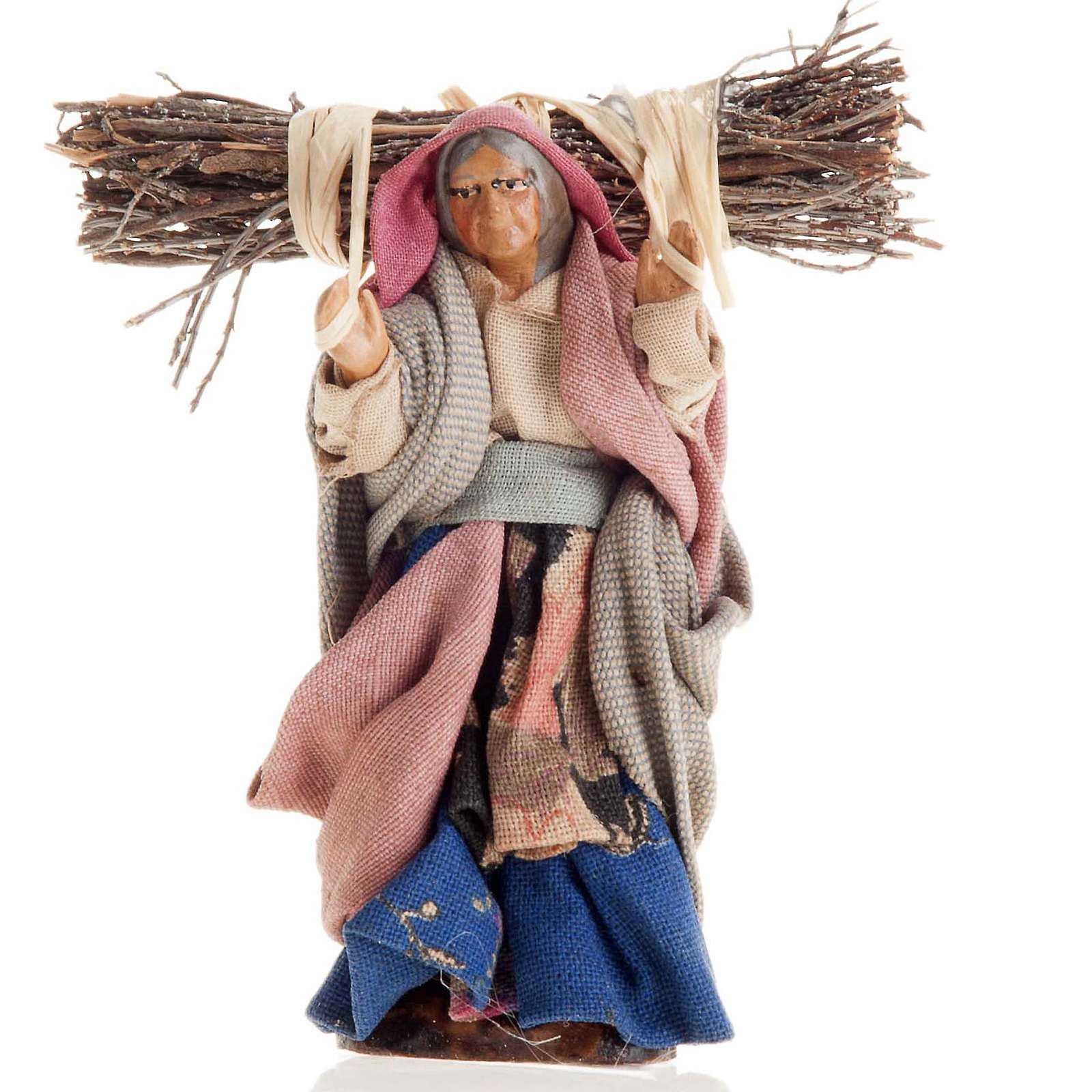 Neapolitan Nativity figurine, Old woman with wood bundle 8cm 4
