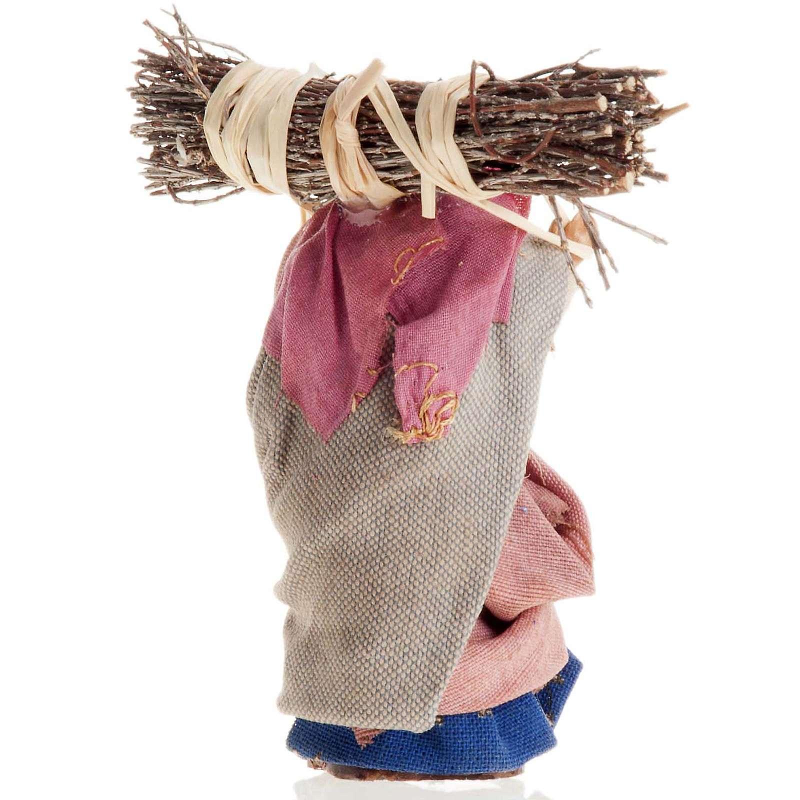 Neapolitan Nativity figurine, Old woman with wood bundle 8cm 4