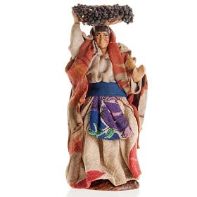 Neapolitan Nativity Scene: Neapolitan Nativity figurine, Woman with grape basket 8cm