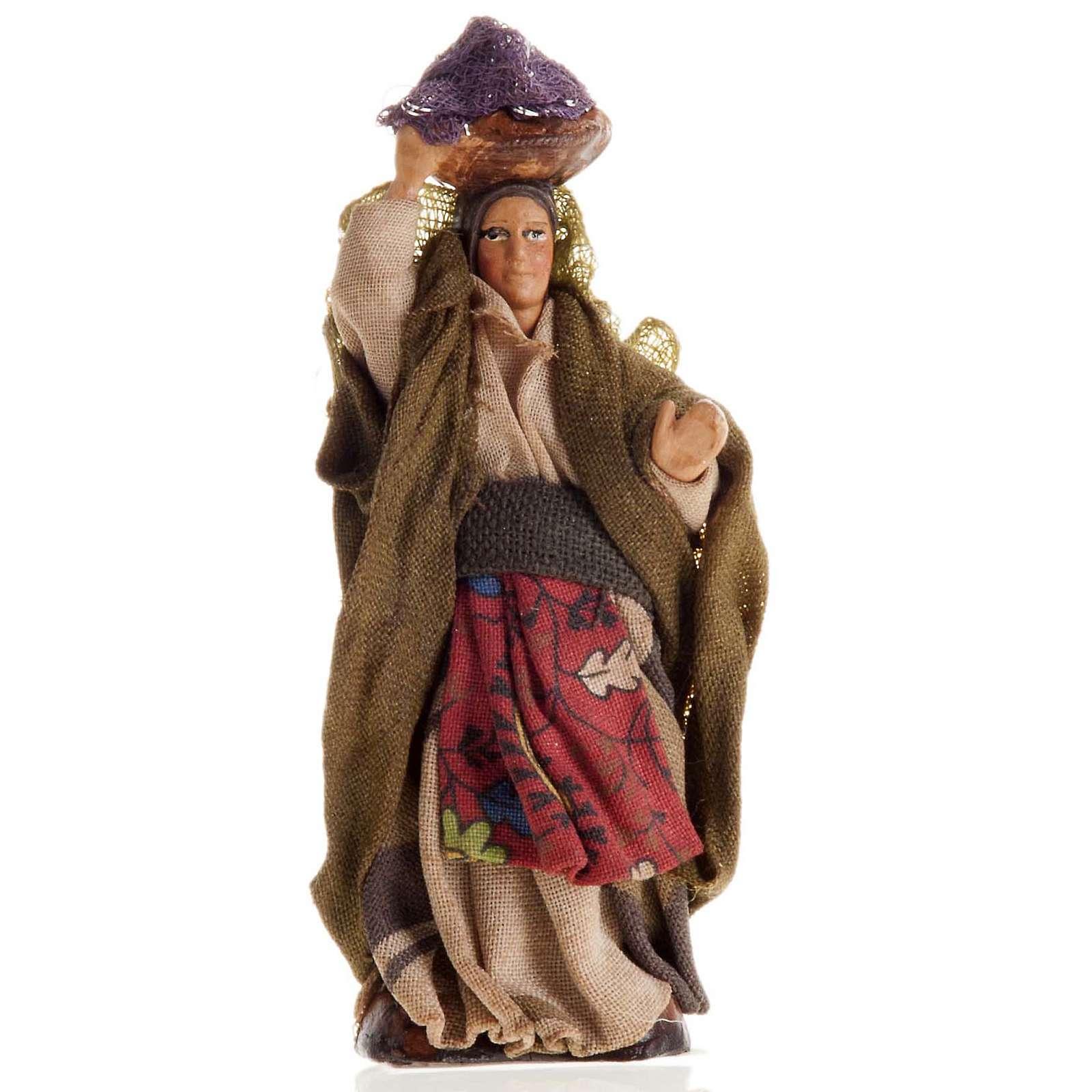 Mujer con cesto de ropa en la cabeza 8 cm. belén napolita 4