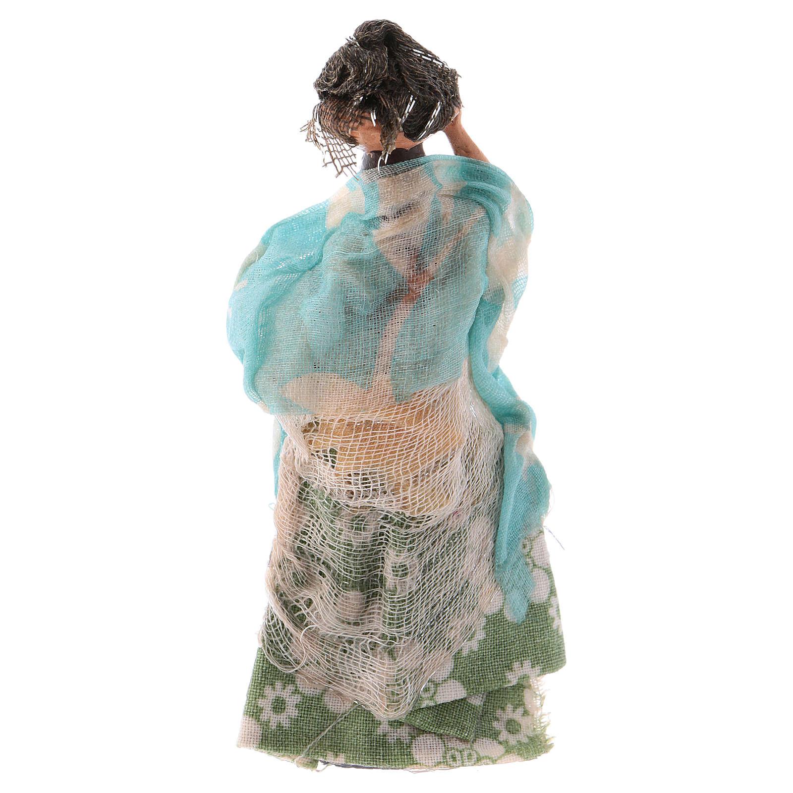 Donna con panni in testa 8 cm presepe Napoli 4