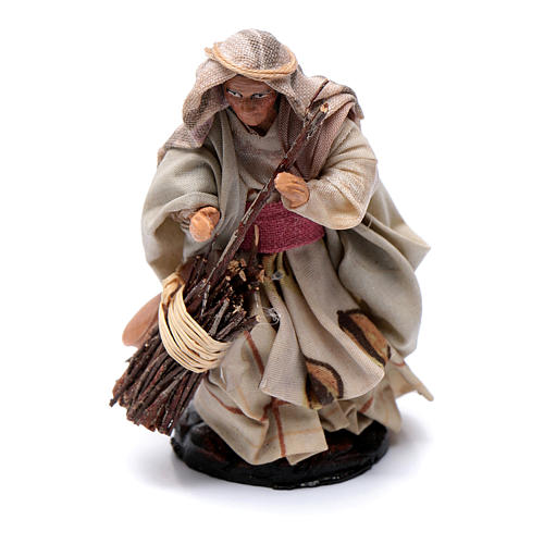 Neapolitan Nativity figurine, Old woman with broom 8cm 1