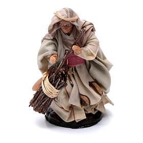 Presépio Napolitano: Mulher idosa com vassoura 8 cm presépio terracota Nápoles