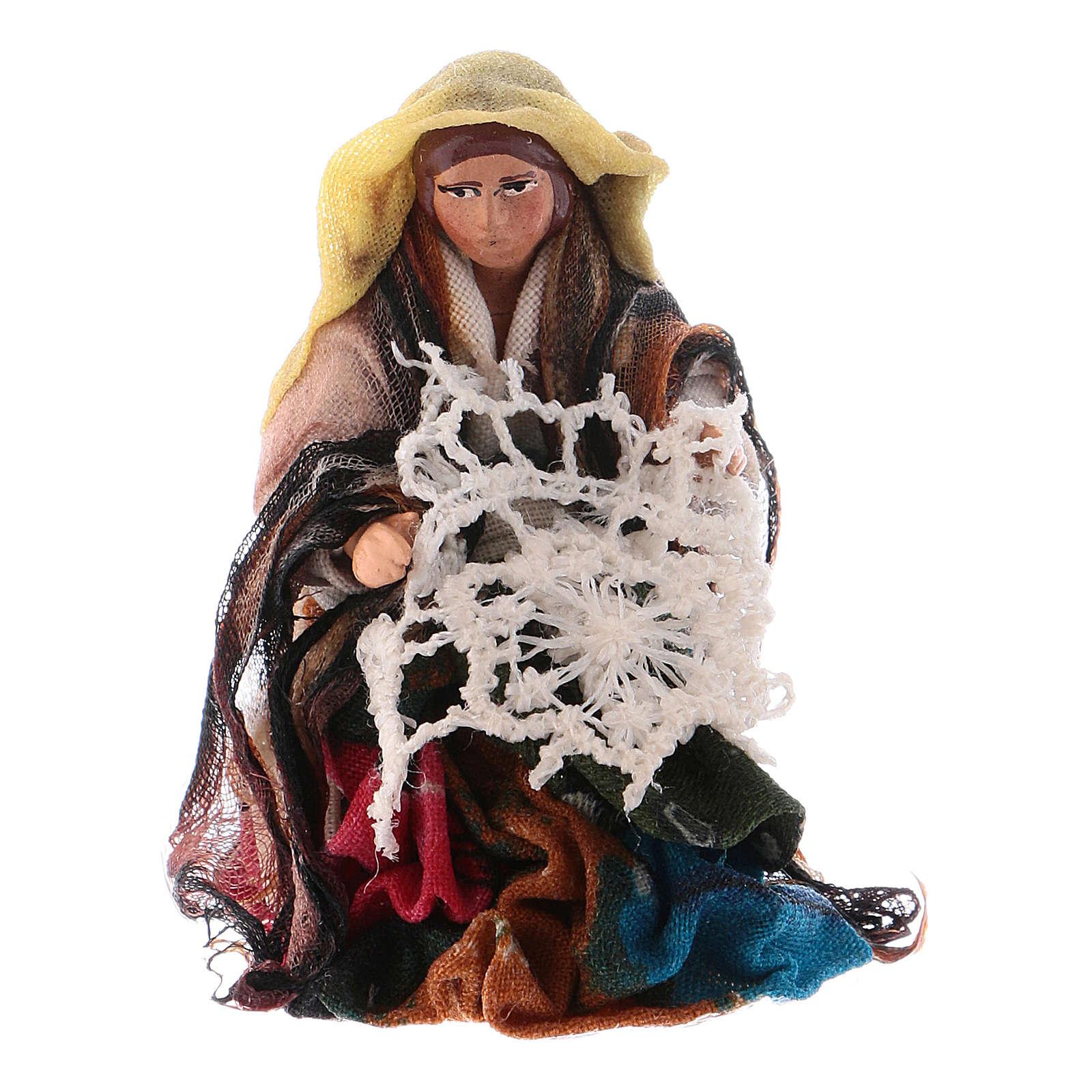 Donna che fila 8 cm presepe napoletano 4