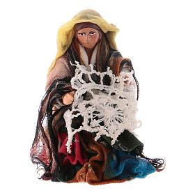 Presepe Napoletano: Donna che fila 8 cm presepe napoletano