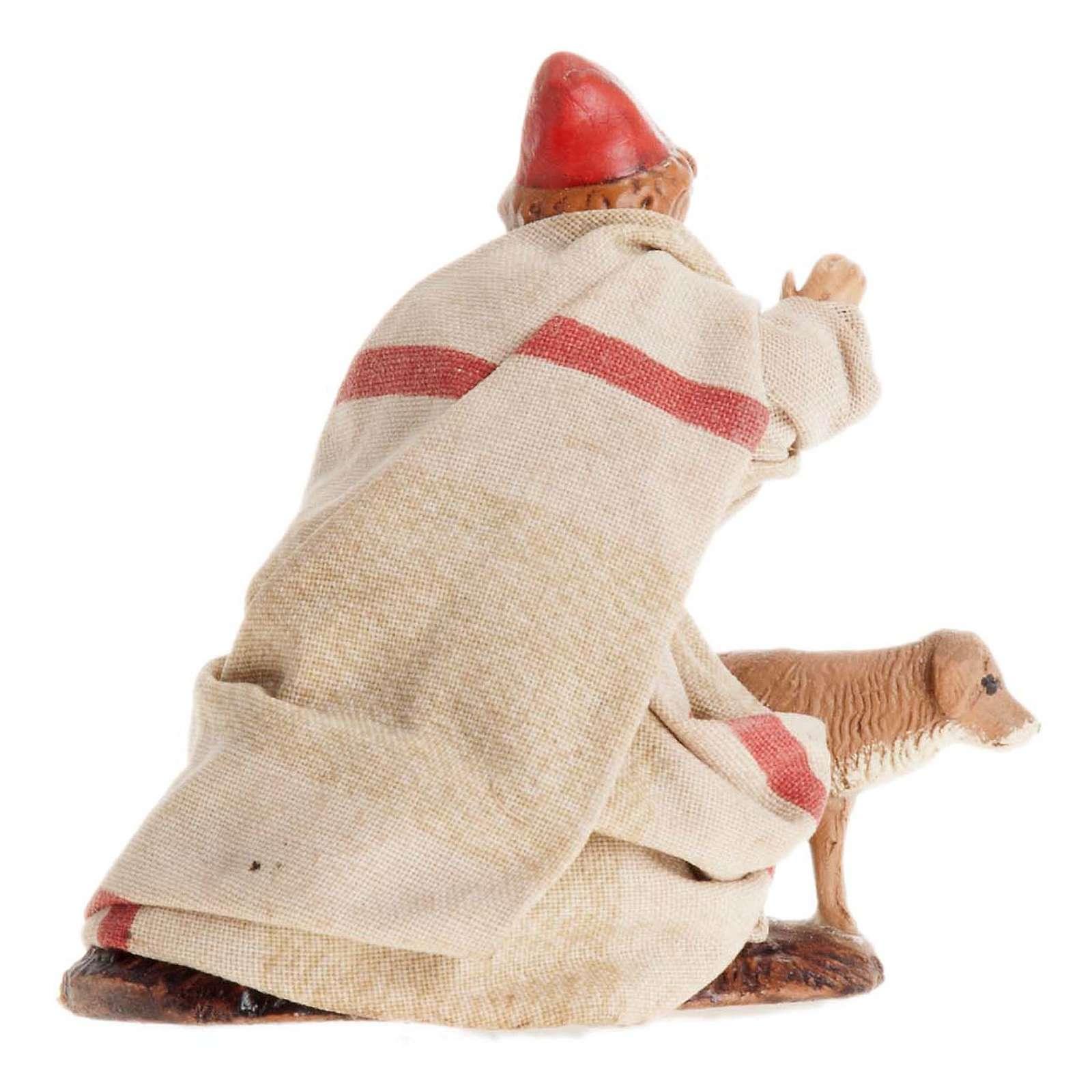 Bimbo con cane 8 cm presepe napoletano 4