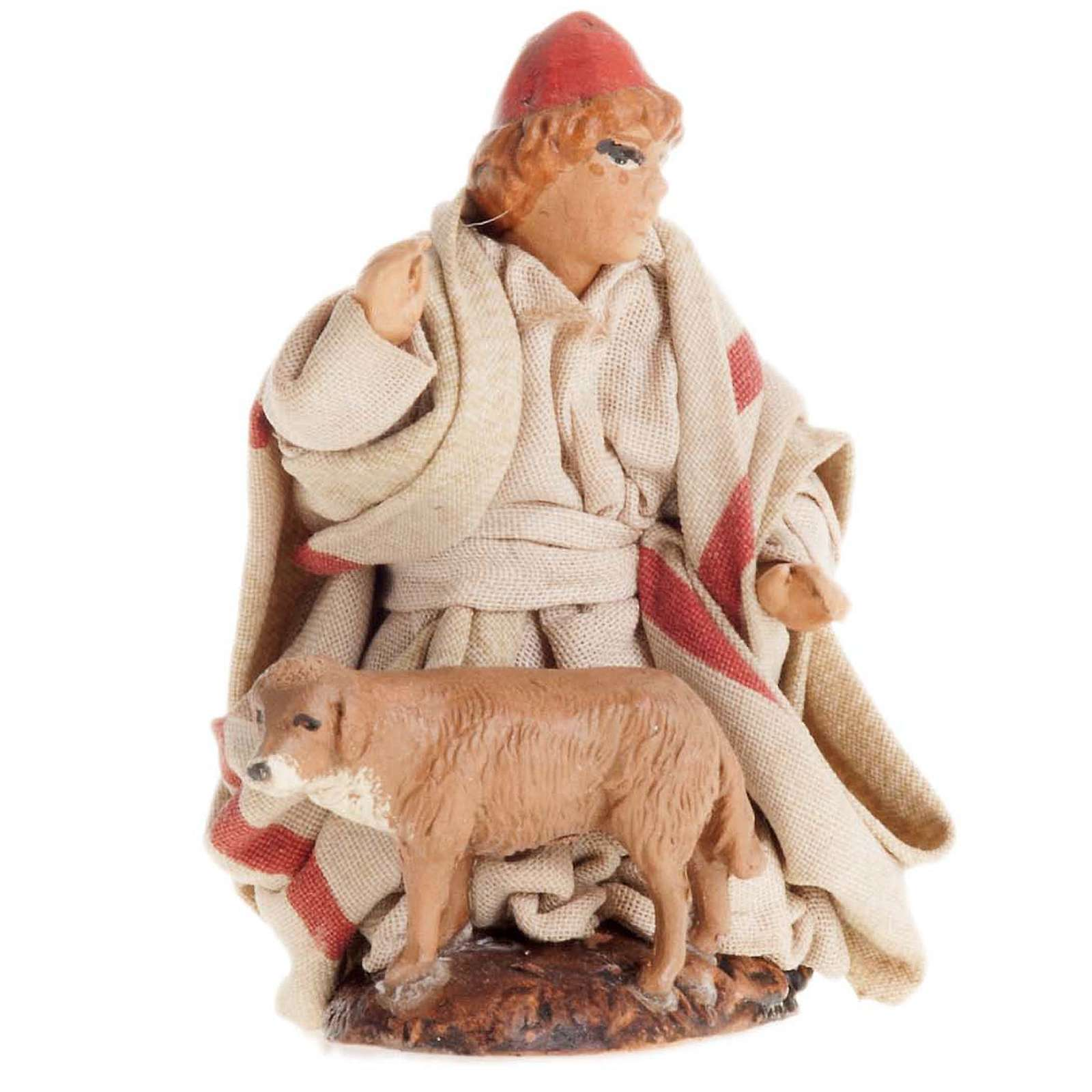 Neapolitan Nativity figurine, Child with dog 8cm 4
