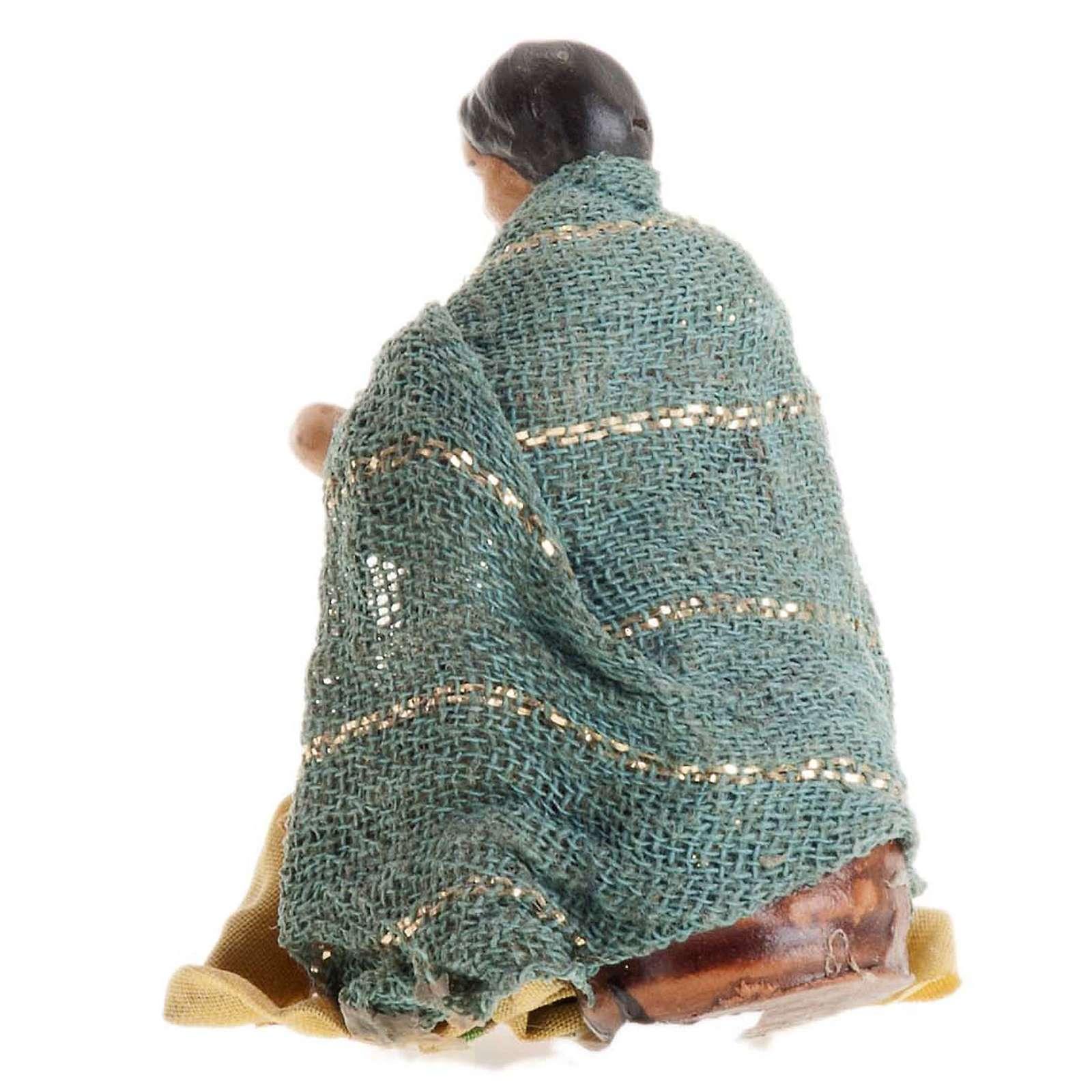 Crèche Napolitaine 8 cm femme assise 4
