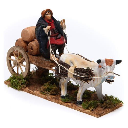 Neapolitan Nativity figurine, Man with cart and ox 8cm 2