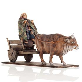 Neapolitan Nativity figurine, Man with cart and ox 8cm s2
