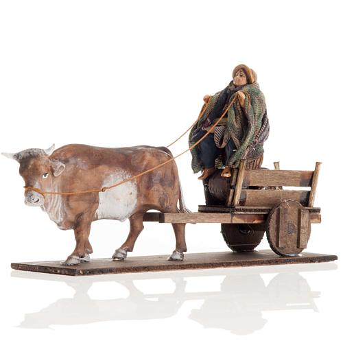 Neapolitan Nativity figurine, Man with cart and ox 8cm 1