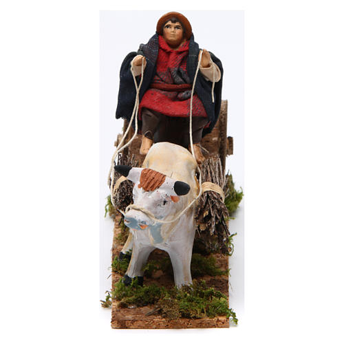 Neapolitan Nativity figurine, Man with cart and ox 8cm 3