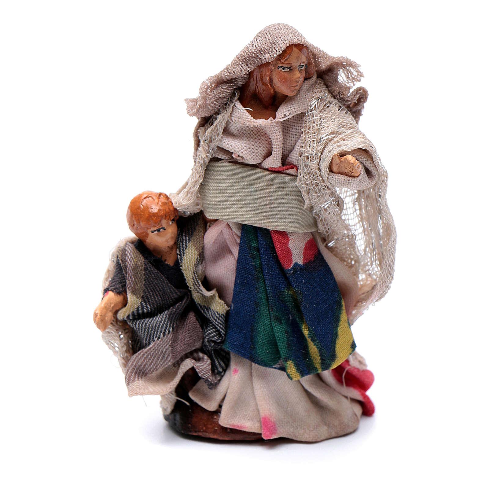 Crèche Napolitaine 8 cm femme avec enfant 4