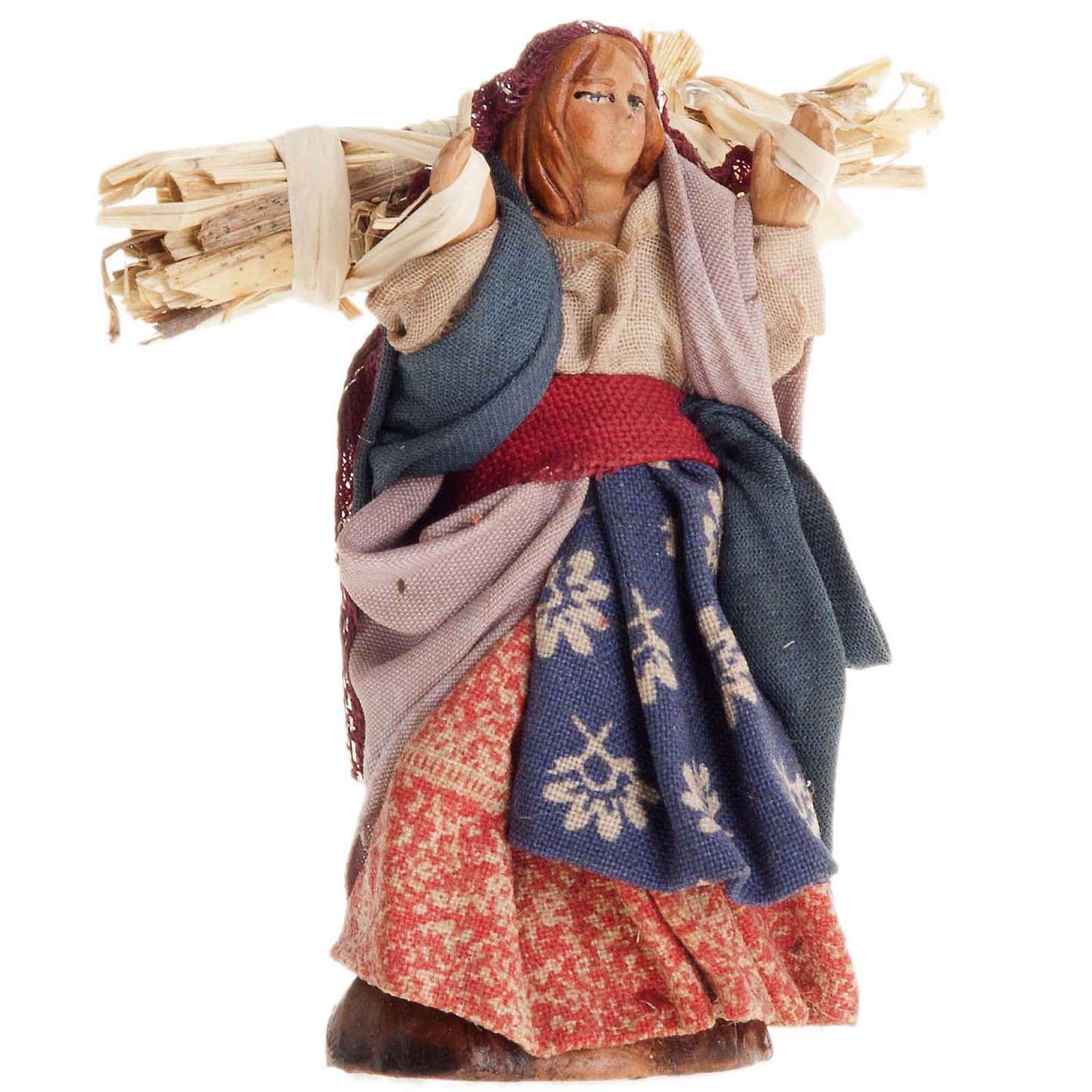 Donna con paglia 8 cm presepe Napoli 4