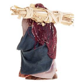 Neapolitan Nativity figurine, Woman with straw 8cm s2