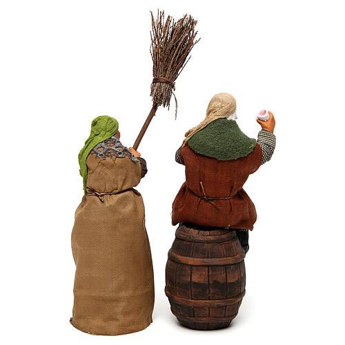 Scenetta ubriaco e donna con scopa 14 cm 3