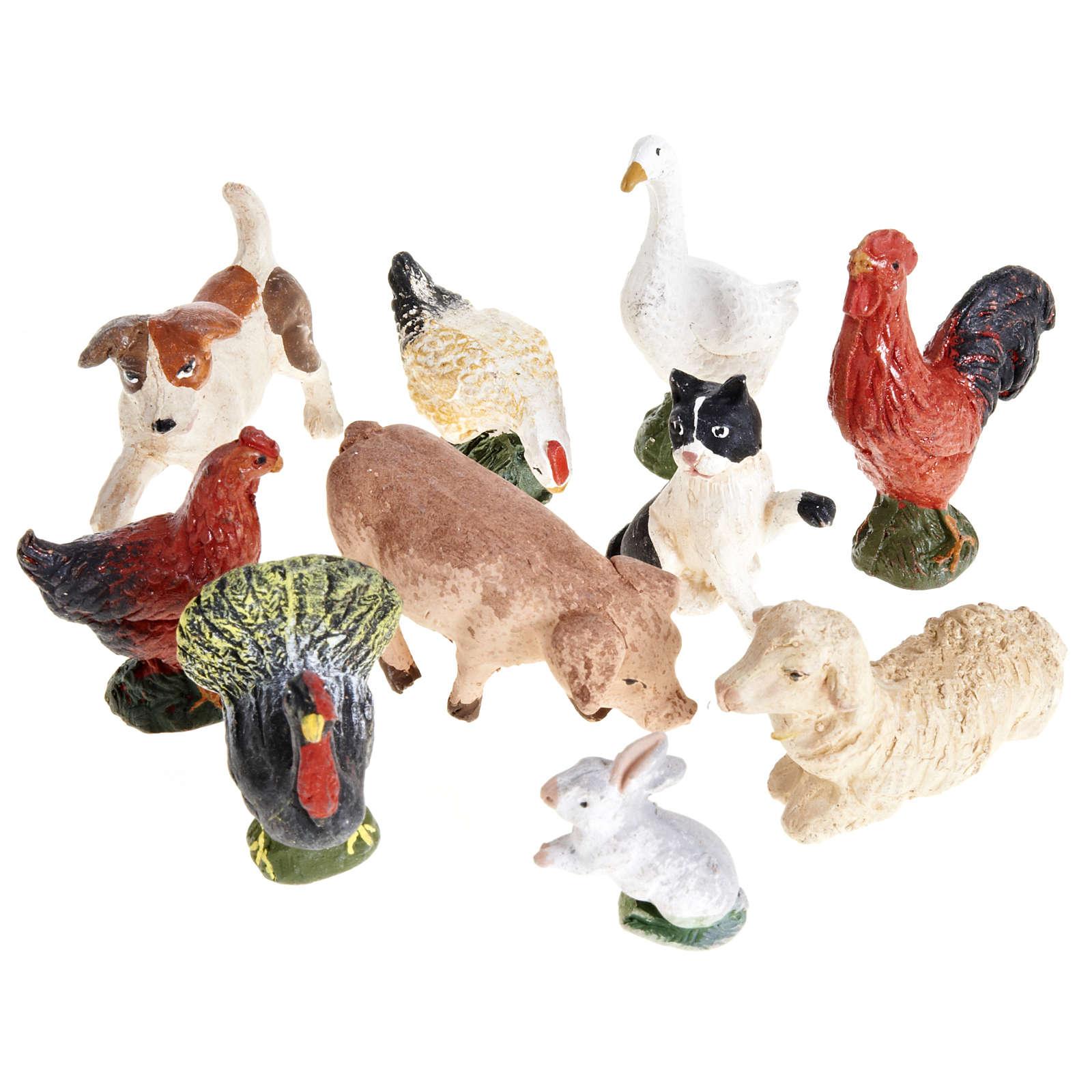 Nativity scene accessory courtyard animals 10 pcs 10cm 4