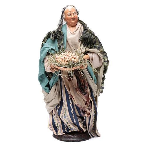 Neapolitan Nativity figurine, woman with egg basket, 30 cm 1
