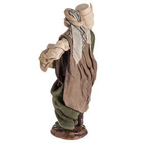 Neapolitan Nativity figurine, man with cask, 30cm s6