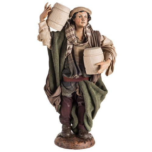 Neapolitan Nativity figurine, man with cask, 30cm 1