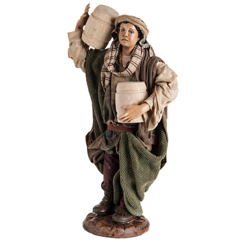 Neapolitan Nativity figurine, man with cask, 30cm 3