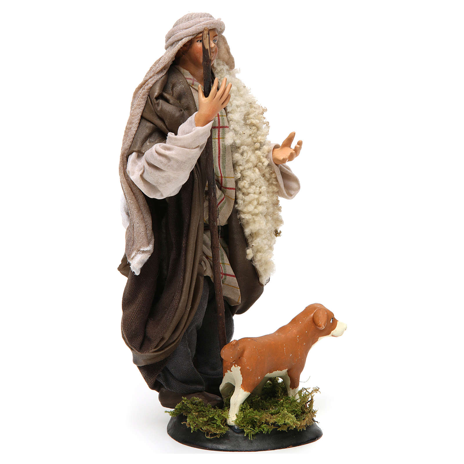Neapolitan Nativity figurine, shepherd with dog, 18 cm 4