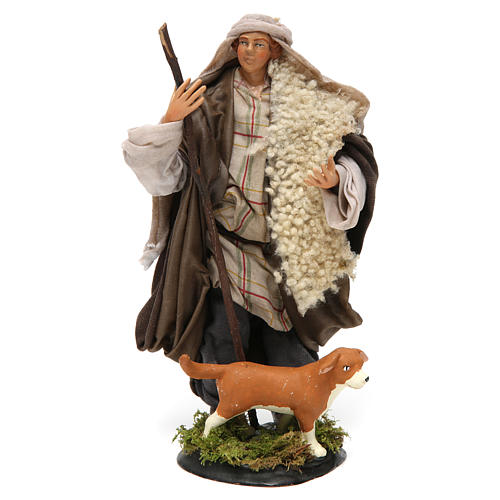 Neapolitan Nativity figurine, shepherd with dog, 18 cm 1