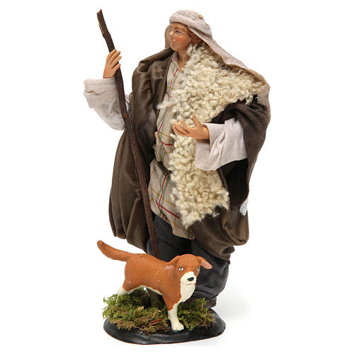 Neapolitan Nativity figurine, shepherd with dog, 18 cm 2