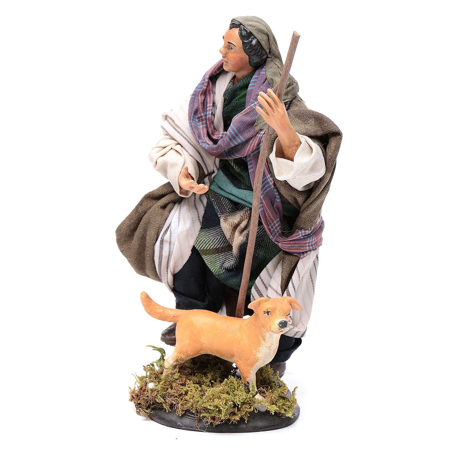 Santon crèche Napolitaine berger avec chien 18 cm 4