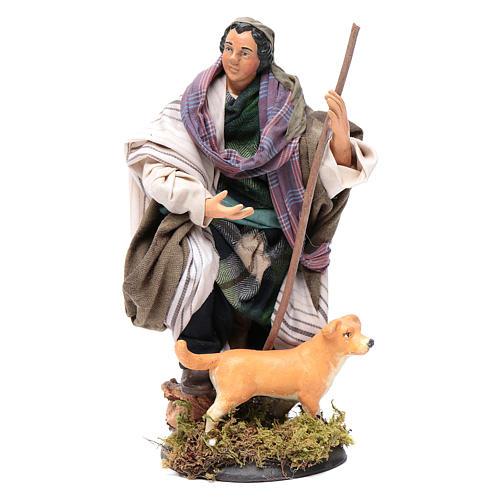 Santon crèche Napolitaine berger avec chien 18 cm 1