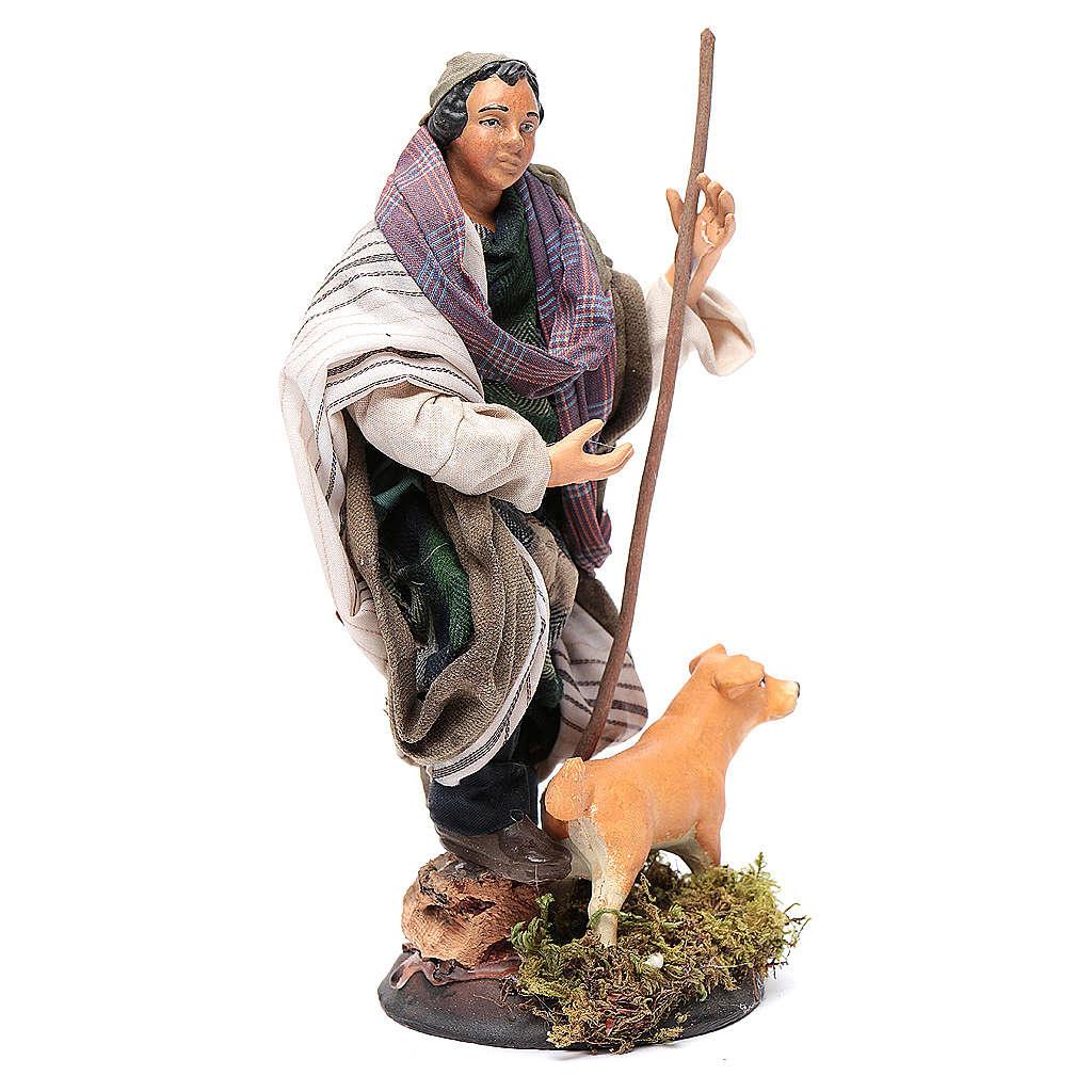 Pastore con cane 18 cm presepe Napoli 4