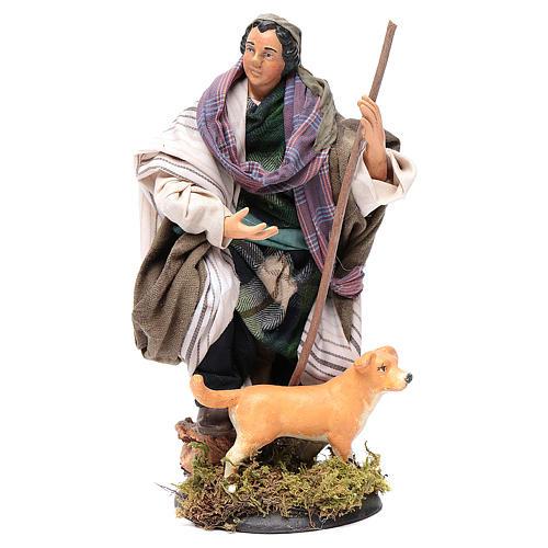 Pastore con cane 18 cm presepe Napoli 1