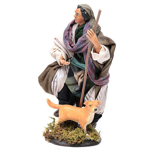 Pastore con cane 18 cm presepe Napoli 2