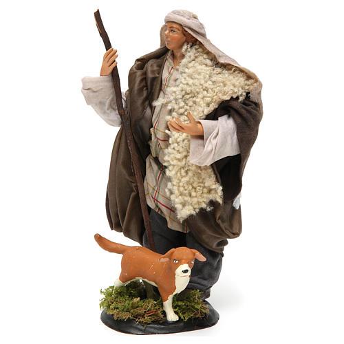 Neapolitan Nativity figurine, shepherd with dog, 18 cm 2