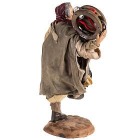 Neapolitan nativity scene figurine, man with tambourine 18cm s5