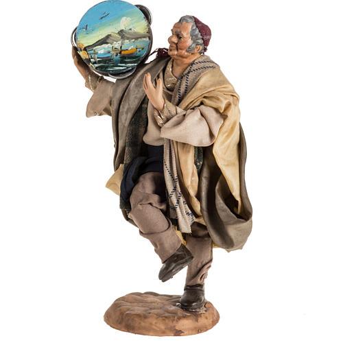 Neapolitan nativity scene figurine, man with tambourine 18cm 1