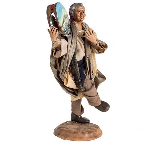 Neapolitan nativity scene figurine, man with tambourine 18cm 3