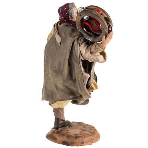 Neapolitan nativity scene figurine, man with tambourine 18cm 5