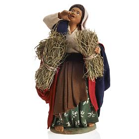 Neapolitan Nativity figurine, female farmer with bundles, 14 cm s1